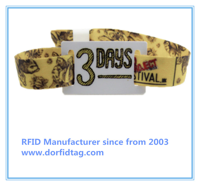NFC Fabric Wristband with PVC Tag NTAG213