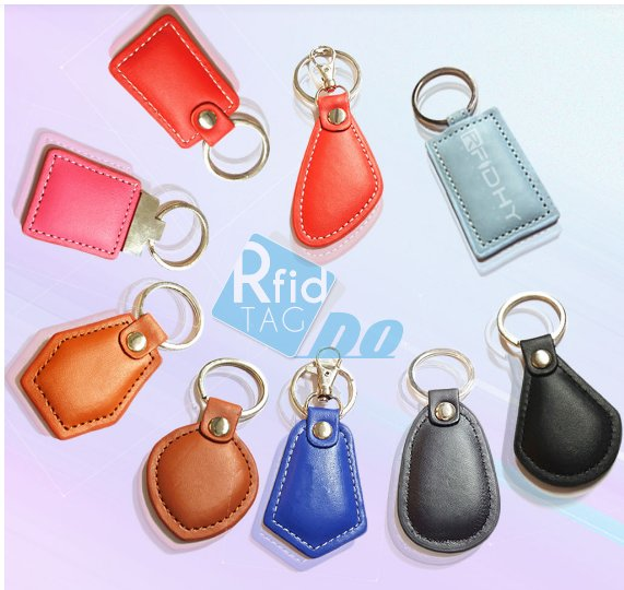 125KHZ EM4200 key fob Leather keychain tag
